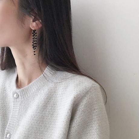 black beads long earring