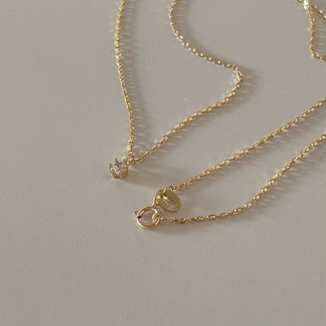 grain zirconia necklace(silver925)