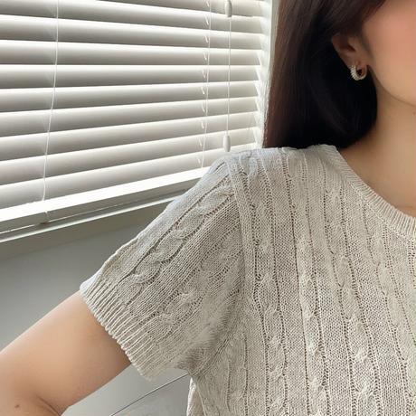 zirconia hoop earrings(silver925)