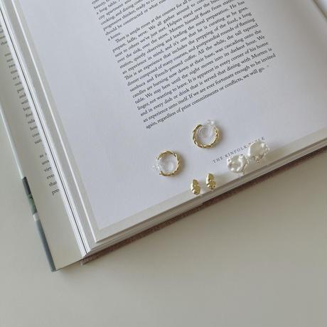 earring 3set(fresh pearl&hoop)