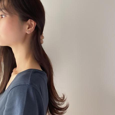 stone lined earrings(silver925)