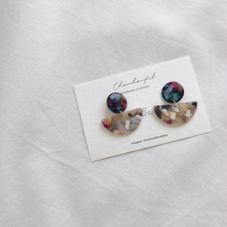 color half circle earring
