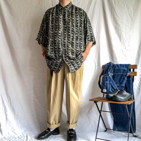 1990's~ bigsize patterned allover silk S/S shirt
