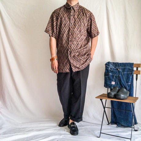 1990's~ patternne all over silk S/S shirt