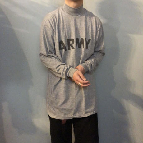 US ARMY 両面リフレクタープリント モックネック ロングTシャツ / 古着 ビンテージ