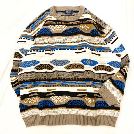 1990's~ USA製 3D 総柄 セーター / 古着 ビンテージ ニット