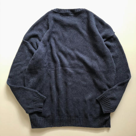 2000's~ bigsize panel design cotton sweater made in USA