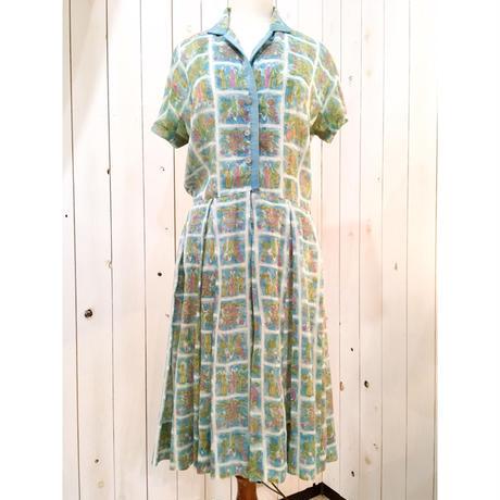 1950s〜 vintage ライトブルー系 総柄 ワンピース/古着 ビンテージ