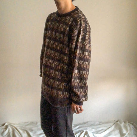 1990's~ patterned allover design acryl sweater