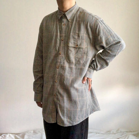 "1990's~ ""ORVIS"" BD hounds tooth pattern cotton L/S shirt"