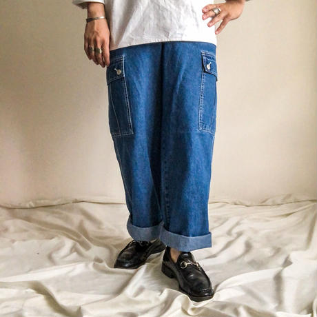 "1990's~ ""REVOLT"" side cargo pocket denim pants"