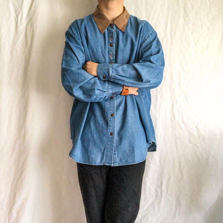 1990's~ embroidery×pre-coating suède collor bigsize L/S denim shirt made in USA
