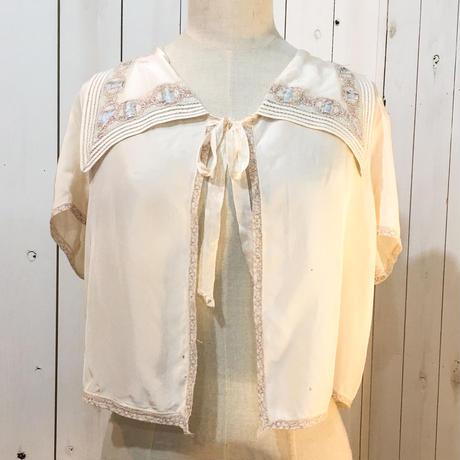 1940s vintage オフホワイト 襟付き ベッドジャケット/古着 ビンテージ ランジェリー