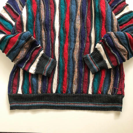 "1990's~ ""3D"" patterned all over  cotton sweater made in Bulgaria"