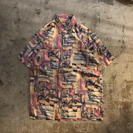 1990's~ 水彩画風 総柄 シルク 半袖シャツ / 古着 ビンテージ