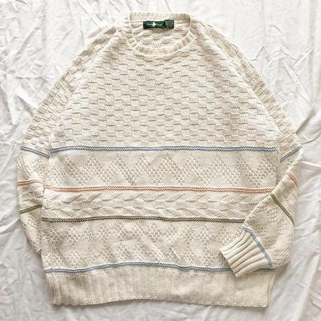 ~1990's USA製 ホワイト デザイン コットンセーター / 古着 ビンテージ