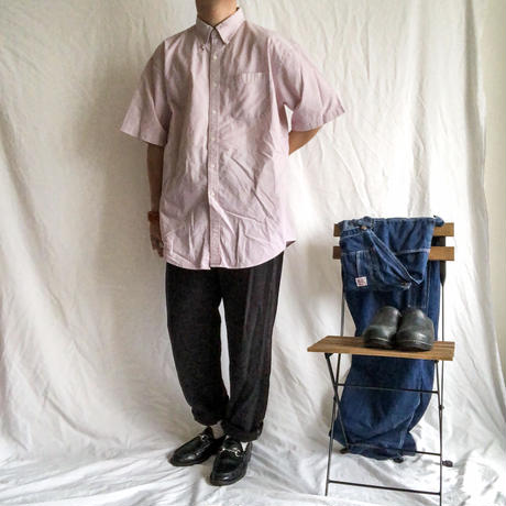 L.L.Bean red×white BD stripe pattern seersucker S/S shirt
