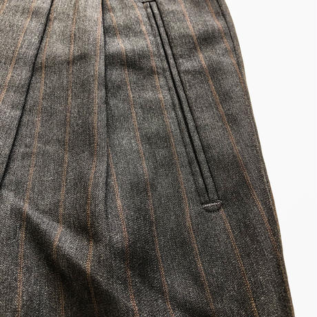 1980's~ Euro made bigsize darkgray×brown stripe pattern slacks