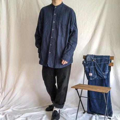 "1990's~ ""Eddie Bauer"" navy stripe pattern linen cotton L/S band collor shirt"