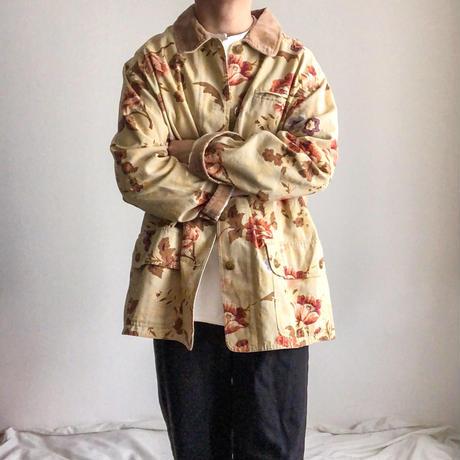 2000's~ fake suede collor flower pattern cotton jacket
