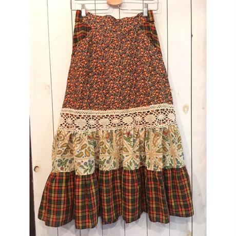 70s vintage GUNNIES チェック柄×花柄  レース装飾 スカート/古着 ビンテージ GUNNE SAX
