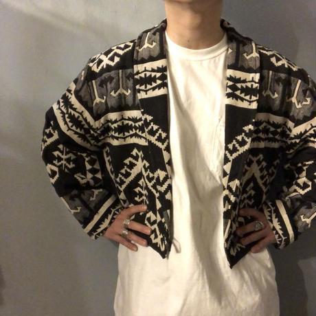 1990's~ モノトーン ネイティブ柄 ショールカラー ジャケット / 古着 ビンテージ
