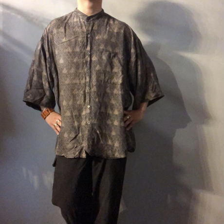 1990's~ ビッグサイズ シルク 総柄 バンドカラーシャツ / 古着 ビンテージ