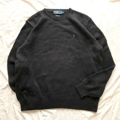 1980's~1990's Polo Ralph Lauren ポニーワンポイント刺繍 コットンセーター / 古着 ビンテージ ニット