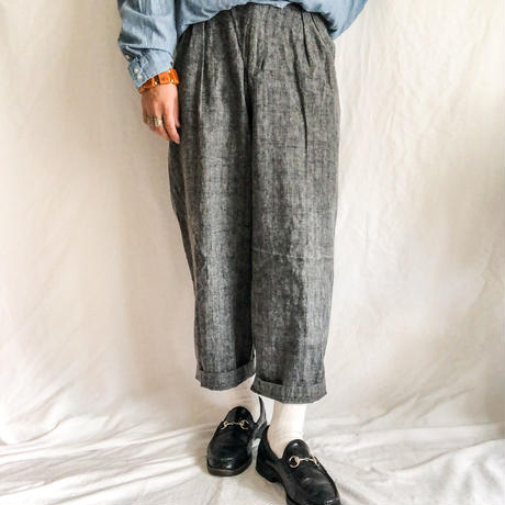 1990's~ gray splashed pattern design cotton pants