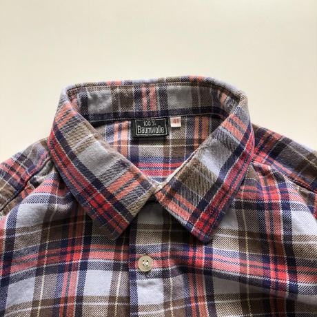 1970's~1980's  Euro plaid pattern grandfather shirt