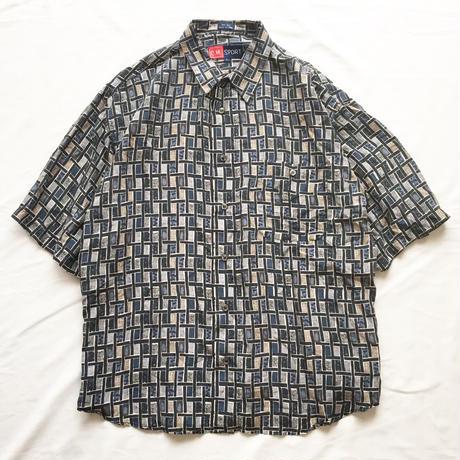 総柄 シルク 半袖シャツ / 古着 ビンテージ