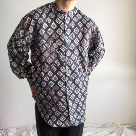1990's~ patterned all over band color L/S silk shirt