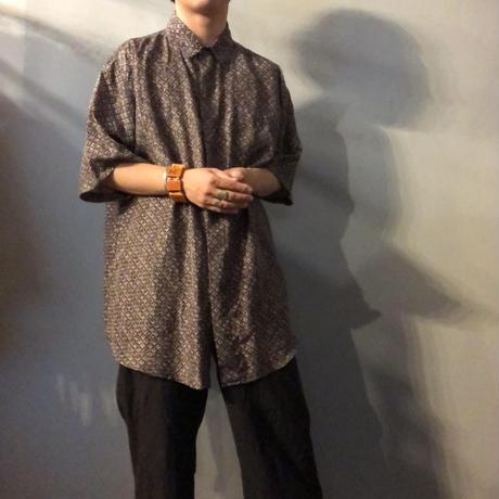 デッドストック 1990's~ ビッグサイズ シルク 総柄シャツ / 古着 ビンテージ