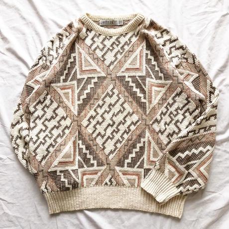 1980's~1990's USA製 JANTZEN 総柄セーター / 古着 ビンテージ ニット