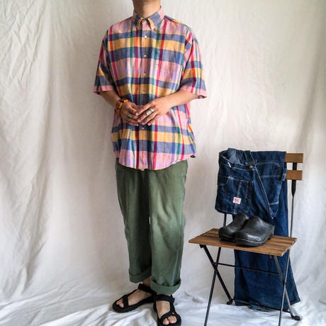 "1990's~ ""GANT"" india cotton madras check BD S/S shirt"