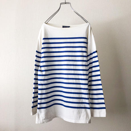 """SAINT JAMES"" white×blue border L/S tee made in France"