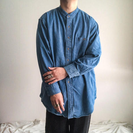 1990's~ bigsize band collor denim L/S shirt made in USA