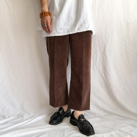 chocolate brown corduroy cropped easy pants