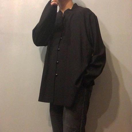 NOS ビッグサイズ old ブラック スタンドカラー レーヨンシャツ / 古着 ビンテージ