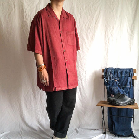 1990's~ open collor patterned all over silk cotton S/S shirt
