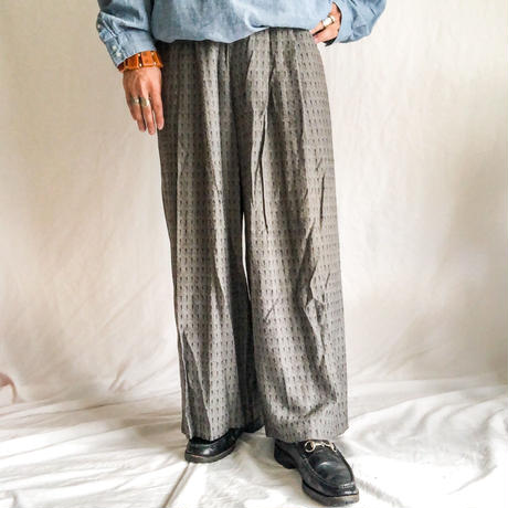 1990's~ patterned all over wide pants made in USA