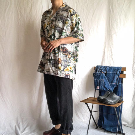1980's~ bigsize open collor S/S Hawaiian shirt made in USA