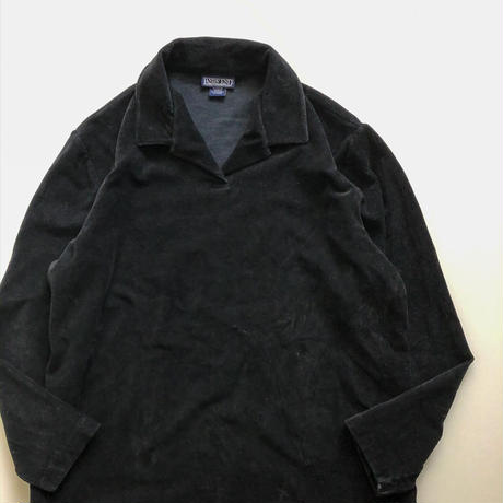 """LANDS'END"" black corduroy pullover shirt"