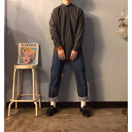 1980's~ USA製 ブラック バンドカラーシャツ / 古着 ビンテージ