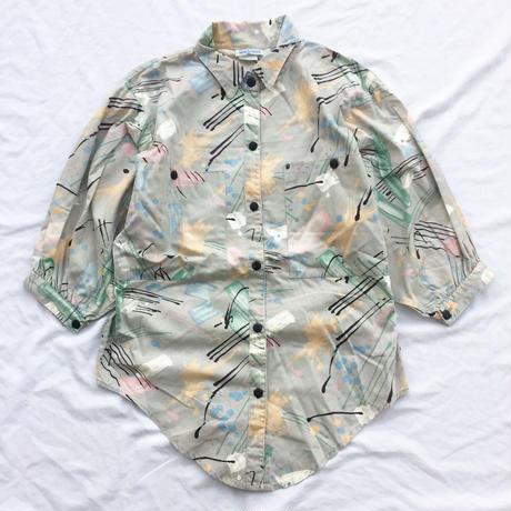 1980's USA製 変形 ペンキ風プリント 5部袖 シャツ /古着 ビンテージ