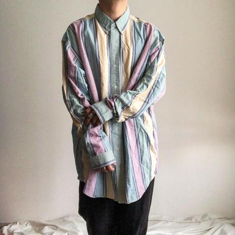 """1990's~ """"Eddie Bauer"""" multi stripe pattern L/S shirt"""