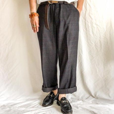 old plaid pattern dark gray bigsize slacks