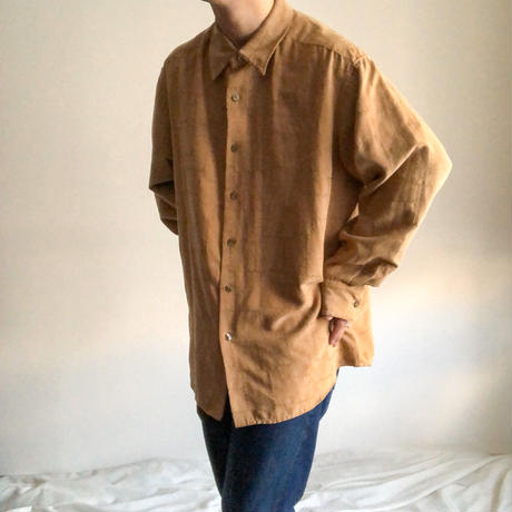 bigsize beige patchwork design fake suede shirt