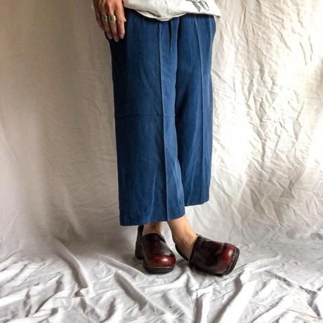 navy blue silk easy wide pants