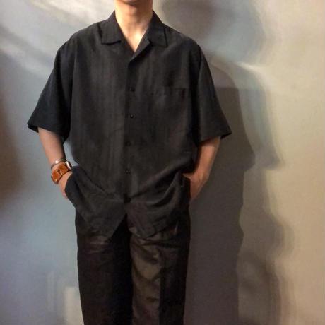 1990's~ ブラック ストライプ柄 半袖シャツ / 古着  ビンテージ